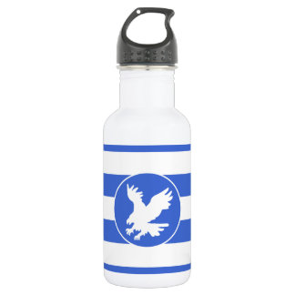 Royal Blue and White Stripes; Eagle Stainless Steel Water Bottle
