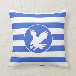 Royal Blue and White Stripes; Eagle Throw Pillow