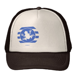 Royal Blue and White Stripes; Frog Trucker Hat