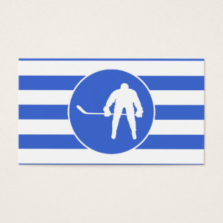 Royal Blue and White Stripes; Hockey Business Card