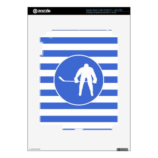 Royal Blue and White Stripes; Hockey Decals For iPad 3