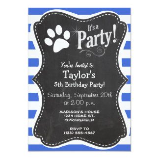 Royal Blue and White Stripes; Paw Print Card