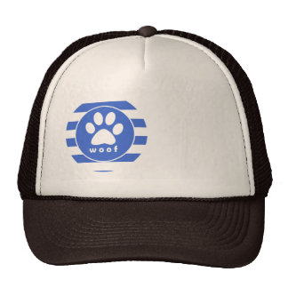 Royal Blue and White Stripes; Paw Print Trucker Hat