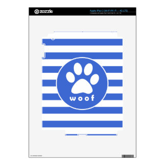 Royal Blue and White Stripes Paw Print iPad 3 Decal