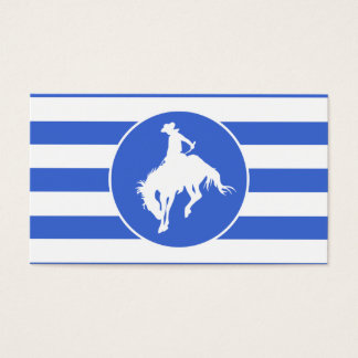 Royal Blue and White Stripes; Rodeo Cowboy Business Card