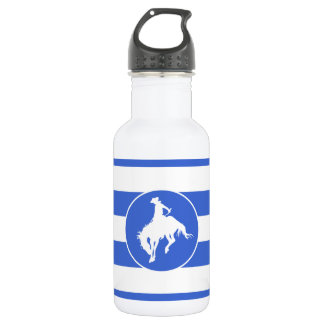 Royal Blue and White Stripes; Rodeo Cowboy Water Bottle