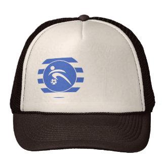 Royal Blue and White Stripes; Soccer Trucker Hat