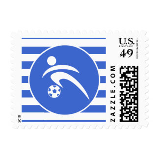 Royal Blue and White Stripes; Soccer Postage Stamps
