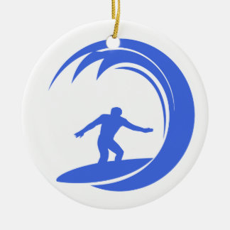 Royal Blue and White Surfing Ceramic Ornament