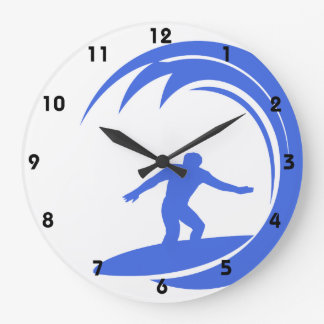 Royal Blue and White Surfing Large Clock