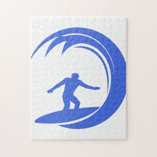 Royal Blue and White Surfing Puzzle