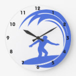 Royal Blue and White Surfing Wall Clock