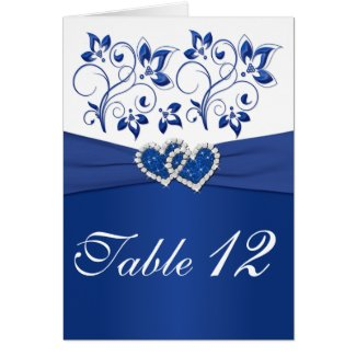 Royal Blue and White Table Number Card card