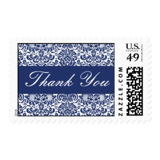 Royal Blue and White Thank You Damask Postage