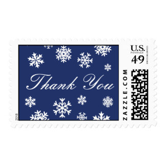 Royal Blue and White Thank You Snowflakes Postage