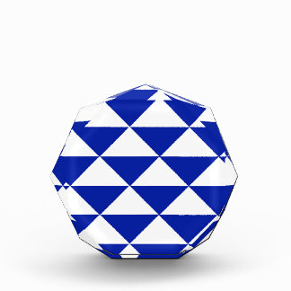 Royal Blue and White Triangles Acrylic Award