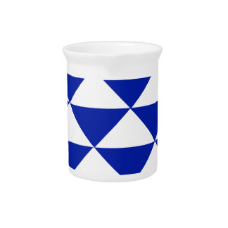 Royal Blue and White Triangles Beverage Pitchers