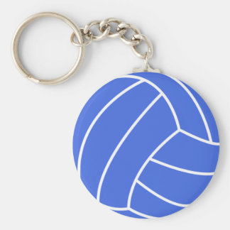 Royal Blue and White Volleyball Basic Round Button Keychain