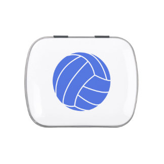 Royal Blue and White Volleyball Candy Tin