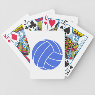 Royal Blue and White Volleyball Poker Cards
