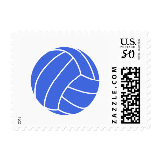 Royal Blue and White Volleyball Postage