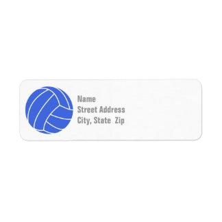 Royal Blue and White Volleyball Return Address Label