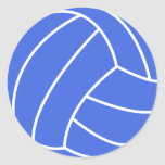Royal Blue and White Volleyball Classic Round Sticker
