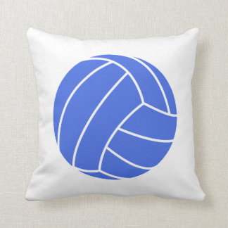 Royal Blue and White Volleyball Throw Pillow