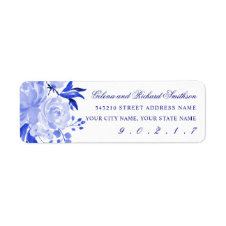 Royal Blue and White Watercolor Florals Address Label