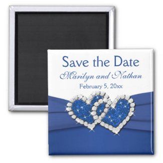 Royal Blue and White Wedding Favor Magnet magnet