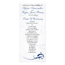 royal blue and white Wedding program Rack Card