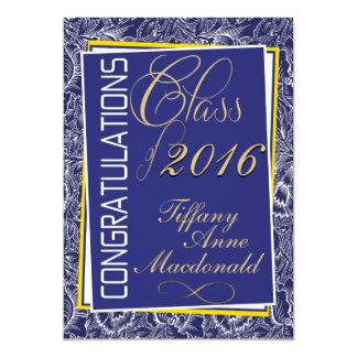 Royal Blue and Yellow 2016 Graduation Invitation