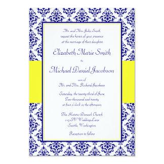 Royal Blue And Yellow Damask Wedding Invitations