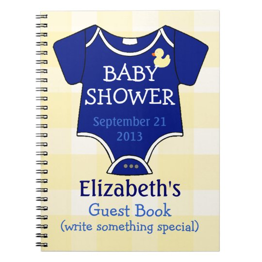 Royal Blue and Yellow Gingham Baby Shower Notebook