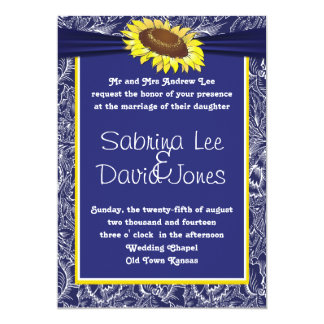 Royal Blue And Yellow Sunflower Wedding Invitation