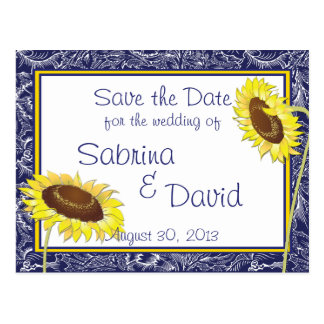 Royal Blue and Yellow Sunflowers Save the Date Post Card
