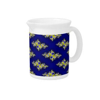 Royal Blue and Yellow Swirls Beverage Pitchers