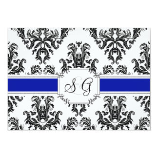 Royal Blue Antique Elegant Wedding Invitation