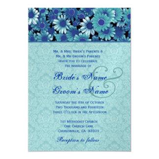 Royal Blue & Aqua Daisy Wedding Premium Metallic Card