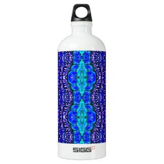 royal blue aqua hippie tiedye rug pattern aluminum water bottle