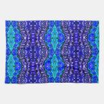 royal blue aqua hippie tiedye rug pattern hand towel