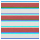 [ Thumbnail: Royal Blue, Aqua, Light Cyan, Red & Green Colored Fabric ]