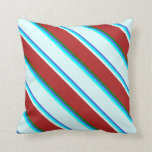 [ Thumbnail: Royal Blue, Aqua, Light Cyan, Red & Green Colored Throw Pillow ]