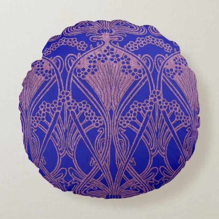 royal blue art nouveau pattern royal purple flora round pillow zazzle com