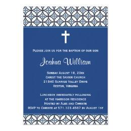 Royal Blue Baptism Christening Invitation