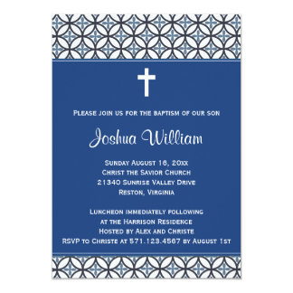 Royal Blue Baptism Christening Invitation