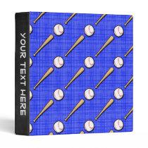 Royal Blue Baseball Pattern Binder