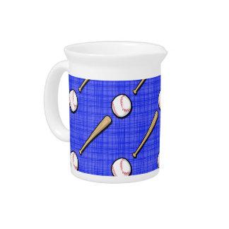 Royal Blue Baseball Pattern Beverage Pitchers