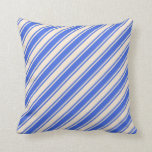 [ Thumbnail: Royal Blue & Beige Lined Pattern Throw Pillow ]