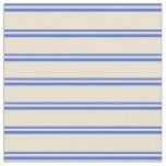 [ Thumbnail: Royal Blue & Beige Lines/Stripes Pattern Fabric ]